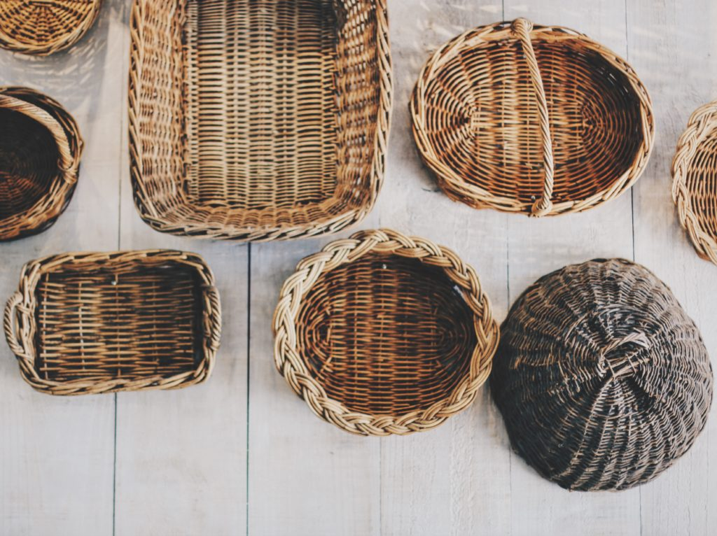 baskets on a white background
